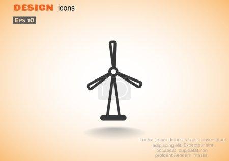 Illustration pour Icône web du générateur éolien, conception d'énergie alternative - image libre de droit