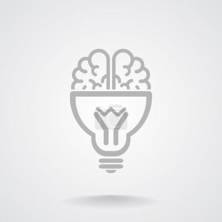 Illustration pour Cerveau avec ampoule icône, concept d'idée, illustration vectorielle de contour - image libre de droit
