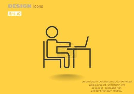 Illustration pour Homme à table avec icône d'ordinateur portable, illustration vectorielle de contour - image libre de droit