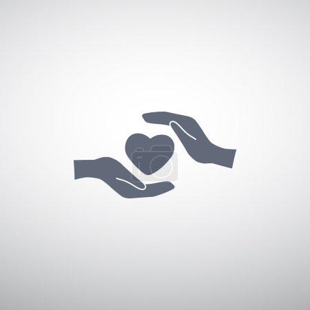 Illustration pour Coeur dans les mains icône simple, concept de mode de vie sain - image libre de droit