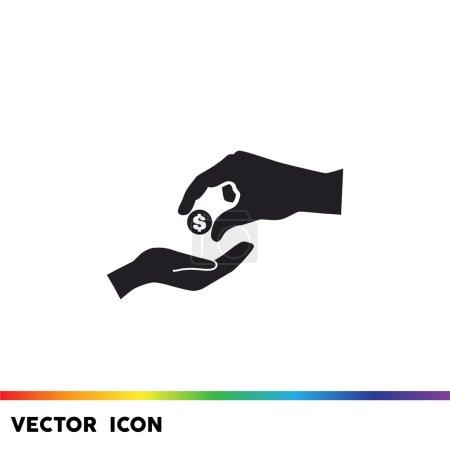 Give alms outline vector illustration