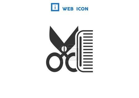 Comb and scissors simple icon