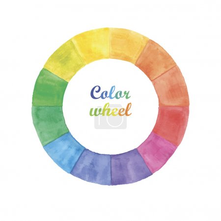 Illustration for Watercolor color wheel circle  on white backgraund - Royalty Free Image