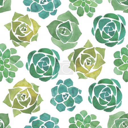 Watercolor succulents seamless pattern