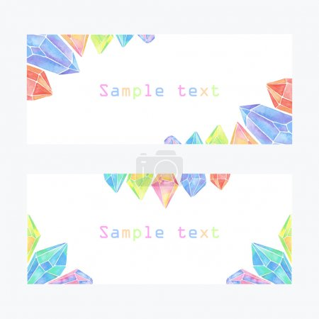 Watercolor crystals banner