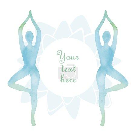Watercolor yoga frame