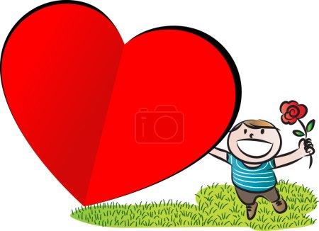 Boy with big blank heart shape