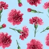 Seamless pattern carnations flowers Floral background wallpaper  wrapping packing paper Elegance pattern with realistic red flowers Vintage vector illustration eps 10