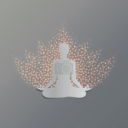 Illustration for Man practicing yoga asana lotus. Cut-out paper Design. - Royalty Free Image