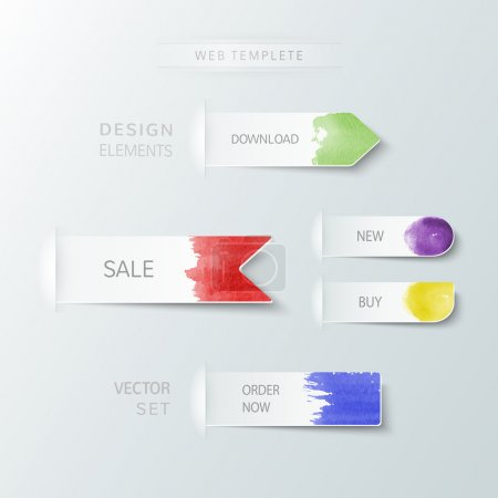 Watercolor abstract paper design elements