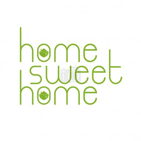 Home sweet home lettering with hearty house inside...