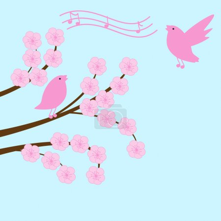 Illustration for Blossom sakura branch with singing birds and notes - Royalty Free Image