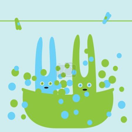 Illustration pour Carte de douche bébé avec des lapins mignons se baignant dans un bain en mousse - image libre de droit
