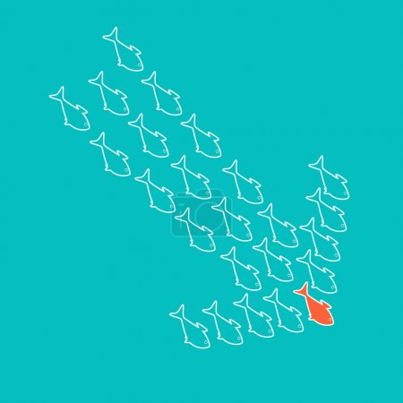Illustration for School of cute celadon fish swimming in shape of down arrow behind its leader. Concept of regression and financial crisis - Royalty Free Image