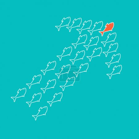 Illustration for School of cute celadon fish swimming in shape of up arrow behind its leader. Concept of success and business achievements - Royalty Free Image