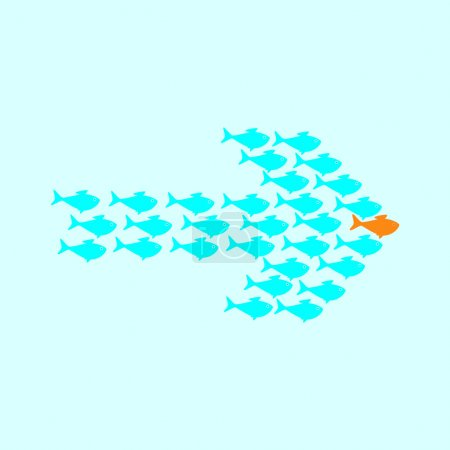 Illustration for School of cute celadon fish swimming in shape of arrow behind its gold fish leader. Concept of success and business achievements - Royalty Free Image