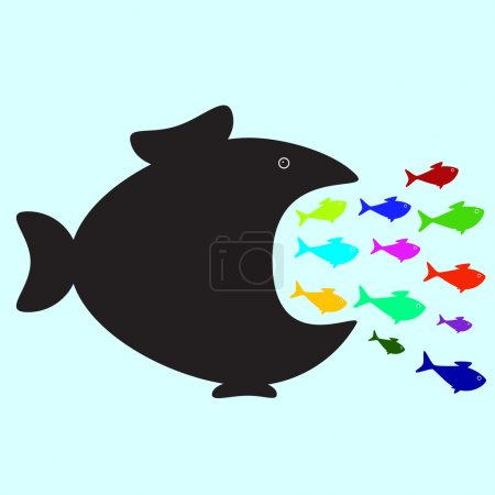 Illustration for Big black fish swallowing plenty of colorful fish of different sizes and colors. Business or political concept of monopolistic company or union absorbed small companies. Career concept of careerist who does not consider interests of his colleagues - Royalty Free Image