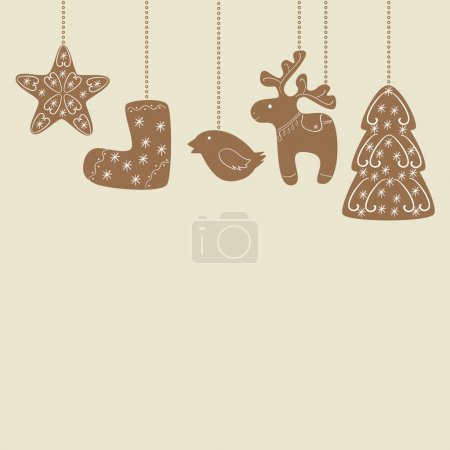 Hanging Christmas cookies background