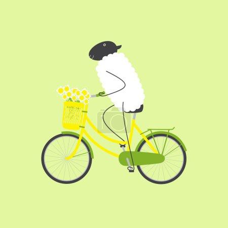 Sheep on bicycle