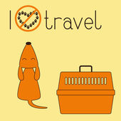 Cute brown contoured foxy colored howling dog sitting back with its head up and eyes closed orange plastic pet carrier with brown handle and lettering I dislike travel isolated on ginger background Concept illustration of pet carrying and traveling