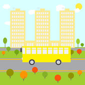 Autumn city landscape with colorful bushes and trees green lawn yellow bus riding on the road high beige buildings and blue sky with white clouds and bright sun at the background School / public transport illustration