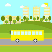 Landscape with bushes trees green lawn hills yellow bus riding on the road beige buildings and blue sky with white clouds and bright sun at the background School / public transport illustration