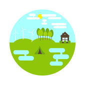 Flat style landscape in the shape of circle Two ponds small camping on green meadow three electric windmills and forest on hills brown cottage with bushes in front of it blue sky with white clouds and yellow sun