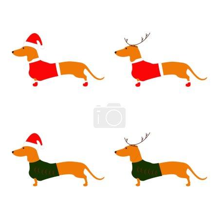 Set of Christmas dachshunds