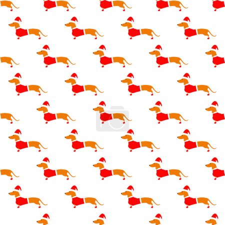 Pattern with dachshund in red Christmas suit