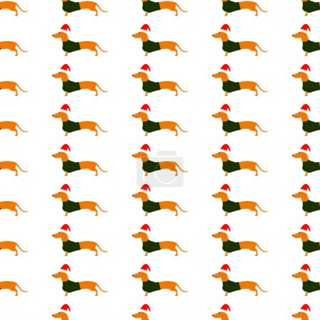Background with dachshund in Christmas hat and green waistcoat