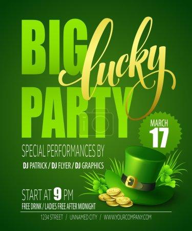 Illustration pour Lucky Party Poster. La Saint-Patricks. Illustration vectorielle EPS10 - image libre de droit