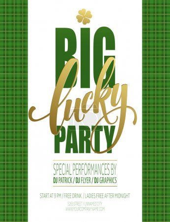 Lucky Party Poster. St. Patricks Day. Vector illustration