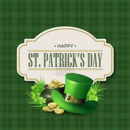 Conception de badge vintage vacances St. Patricks Day. Illustration vectorielle