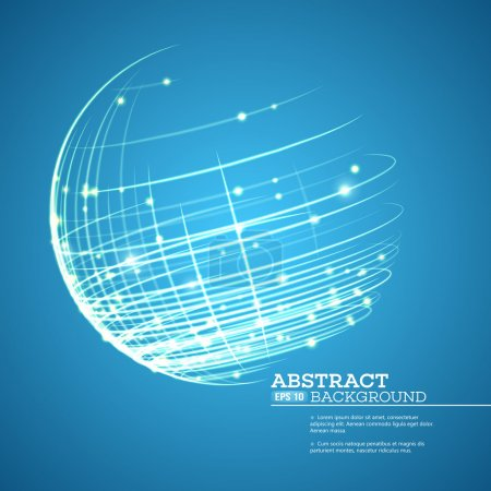 Point and curve constructed the sphere wireframe, technological sense abstract background. Vector illustration