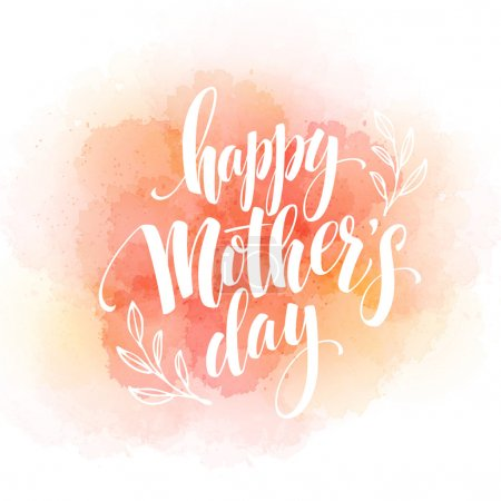 Happy Mothers Day Hand-drawn Lettering  card.  Vector illustration