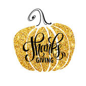 Happy Thanksgiving Day give thanks autumn gold glitter design Typography posters with golden pumpkin silhouette and text Vector illustration