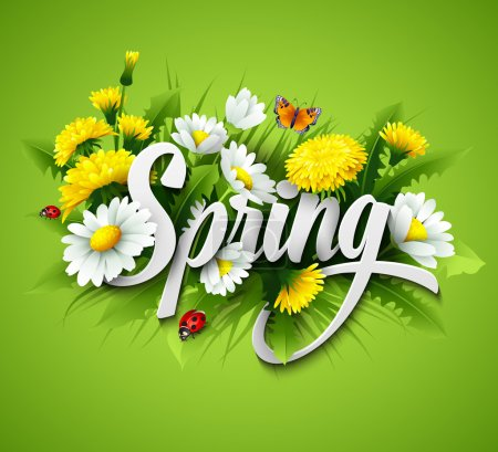 Illustration for Fresh spring background with grass, dandelions and daisies - Royalty Free Image