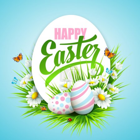 Illustration for Easter poster with eggs and flowers. Vector illustration - Royalty Free Image