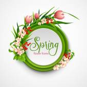 Spring frame with flowers Vector illustration EPS 10