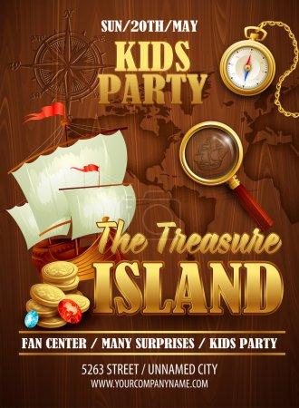 Treasure Island party flyer. Vector template