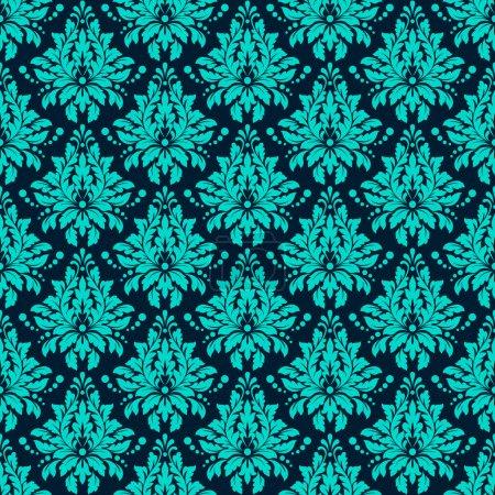 Illustration pour Luxe damassé motif sans couture. Couleur bleue. Illustrations vectorielles EPS10 - image libre de droit