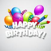 Title Happy Birthday with balloons and firecrackers Vector illustration EPS 10