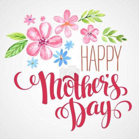 Illustration pour Joyeuse fête des mères. Carte tirée à la main. Illustration vectorielle - image libre de droit