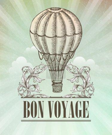 Photo for Aeronautic adventure. Vector vintage illustration with balloon - Royalty Free Image