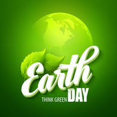 Earth Day Vector illustration with the words planets and green leaves