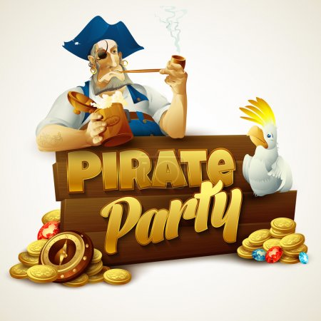 Photo for Pirate party poster. Vector illustration - Royalty Free Image