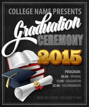 Illustration for Graduation Ceremony. Poster template. Vector illustration EPS 10 - Royalty Free Image