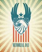 Memorial Day Typographic card with the American flag and eagle Vector illustration