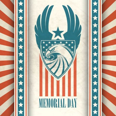 Illustration for Memorial Day. Typographic card with the American flag and eagle. Vector illustration EPS 10 - Royalty Free Image