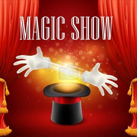 Illustration pour Tour de magie, cirque, concept de spectacle. Illustration vectorielle SPE 10 - image libre de droit
